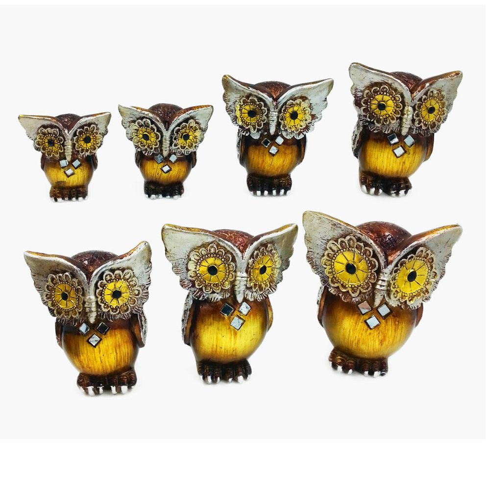 kit família de corujas decorativas em madeira com 7 unidades