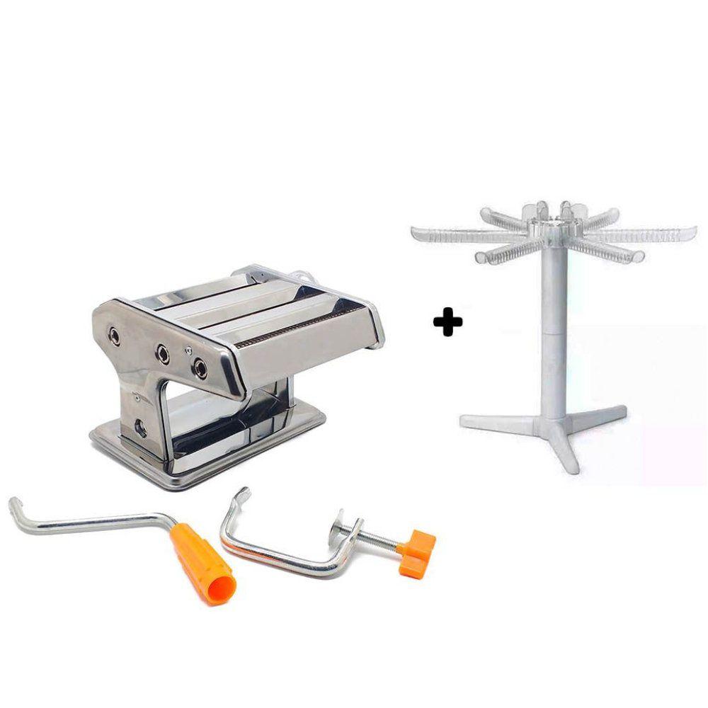 kit maquina fazer macarrão 3 tipos com varal secador massas
