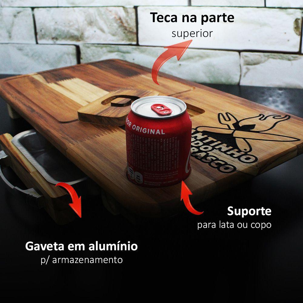 Kit Tabua De Carnes Cantinho Churrasco Com Gaveta + Faca