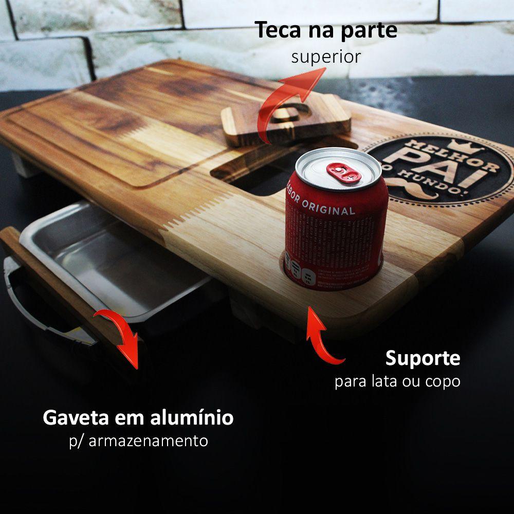 Kit Tabua De Carnes Super Pai P/churrasco Com Gaveta + Faca