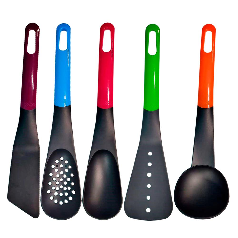 Kit Talheres Utensílios de cozinha Colher 5 Peças em Nylon