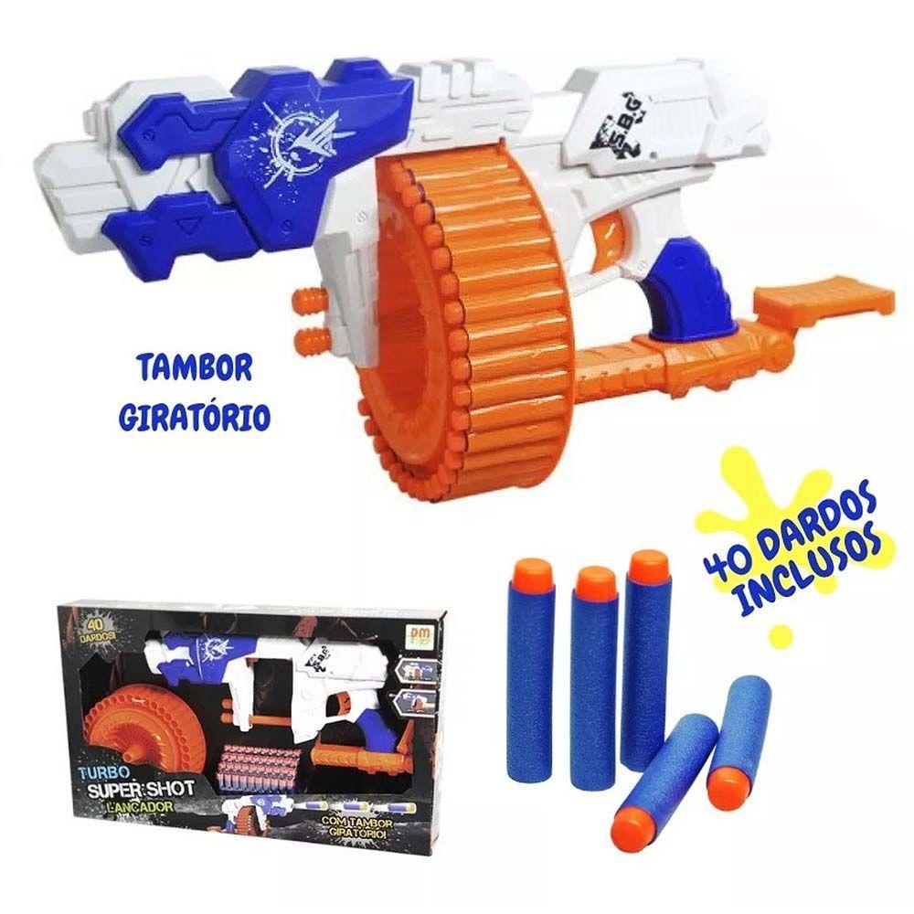 lançador super shot turbo de dardos com 40 dardos