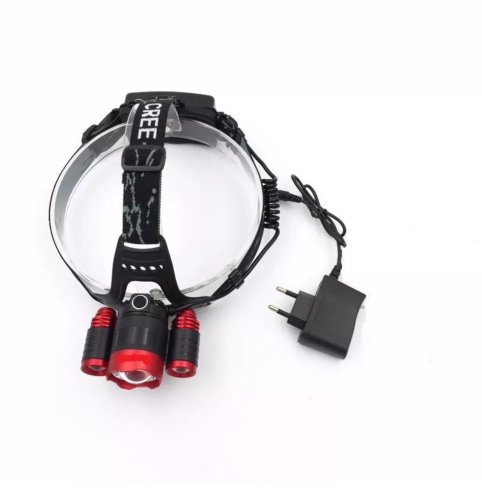 Lanterna Cabeça T6 2000lm Led Luz Farol Preto + Vermelho
