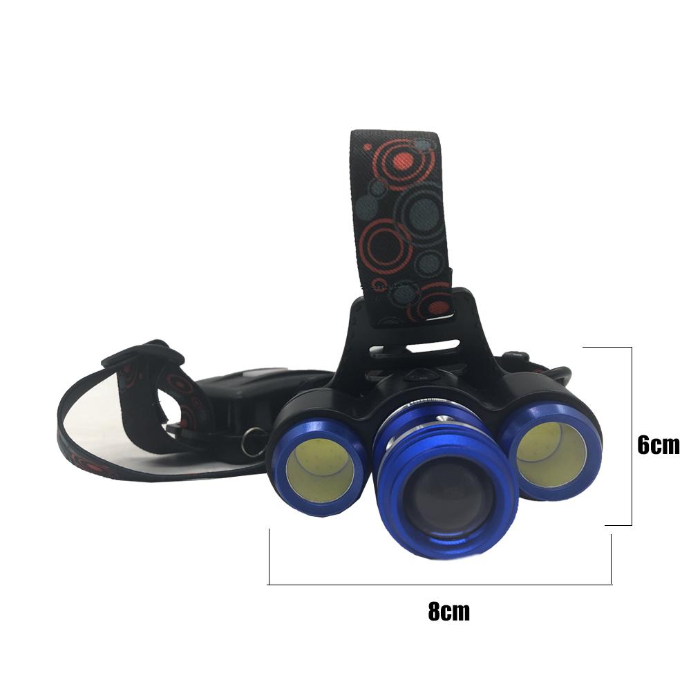 Lanterna De Cabeça Com 3 Faróis LED Com Zoom Recarregável