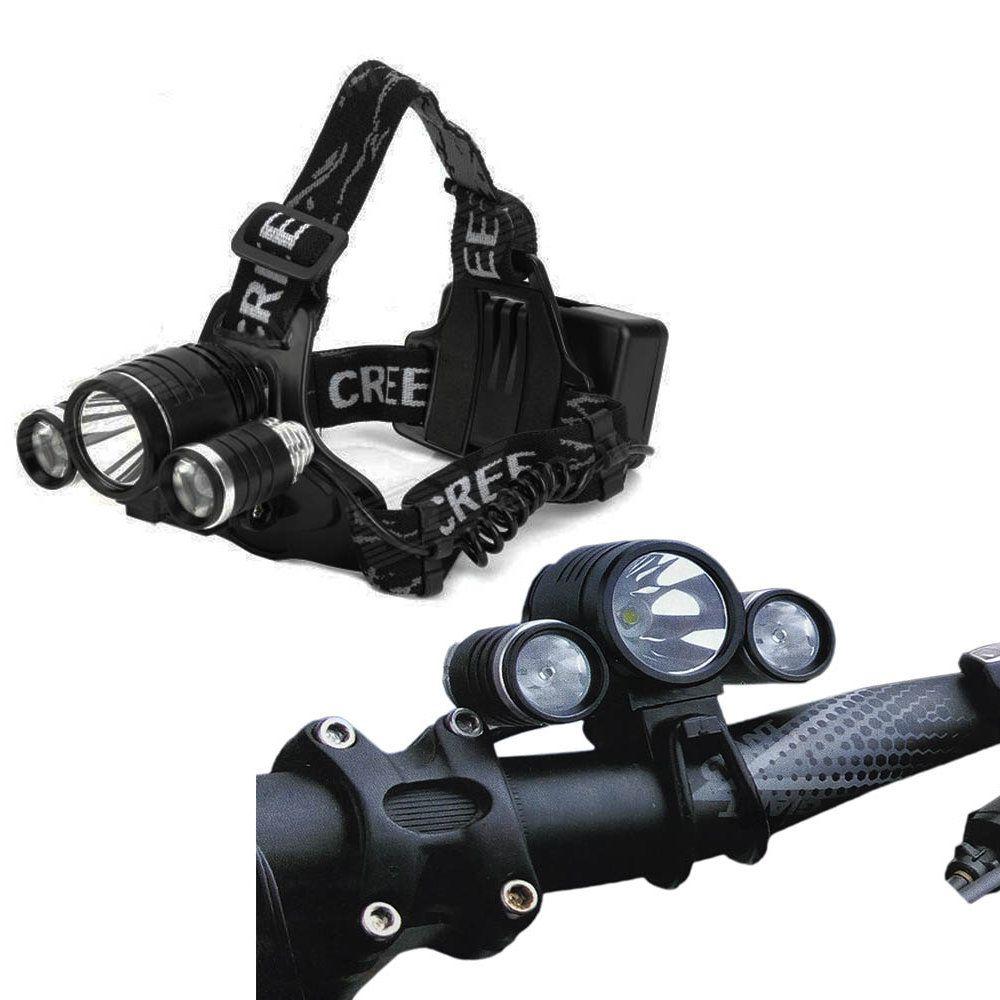 lanterna de cabeça farol bike recarregável 3 led reguláveis