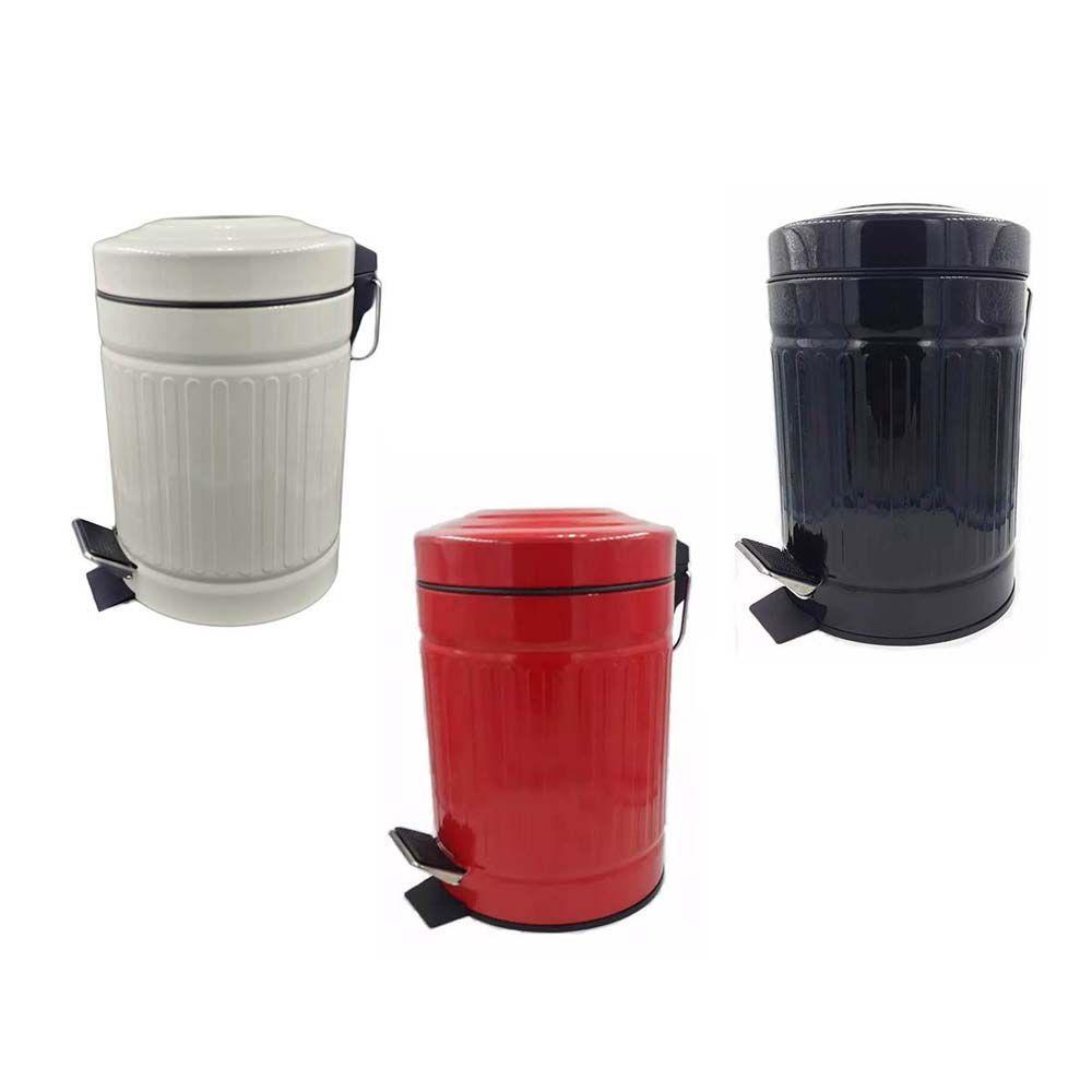 lixeira retro 3 litros para banheiro em aço inox - preto