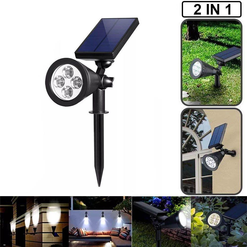 luminária solar de Jardim e parede 4 leds 7w spot holofote