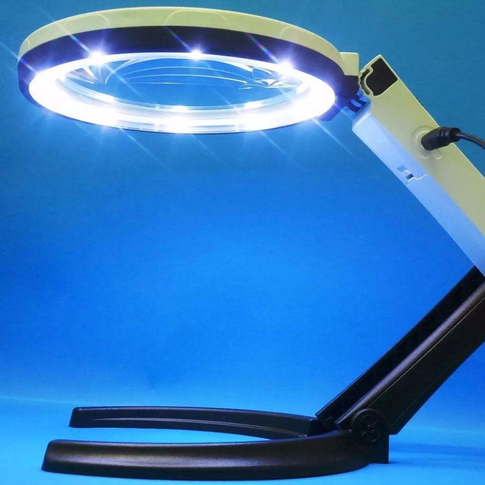 lupa de mesa com fonte bivolt e luzes led ajustável