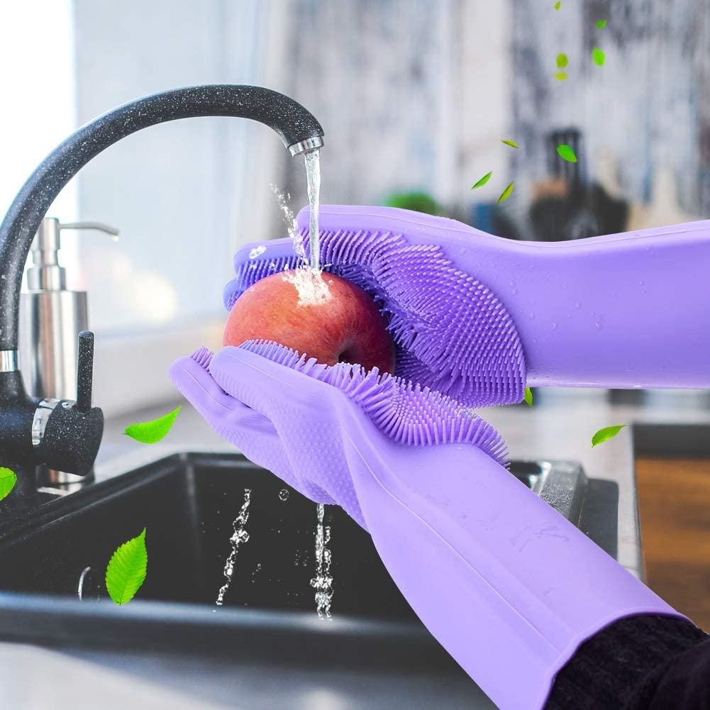 Luvas De Silicone Esponja Macia Limpeza Luva De Lavar Louça