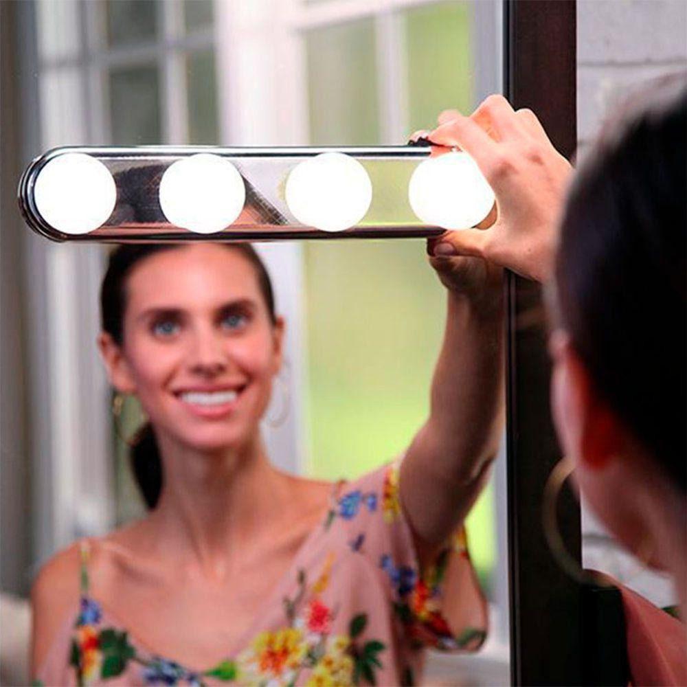 Luz De Espelho Maquiagem Camarim Led 4 Lâmpadas Sem Fio