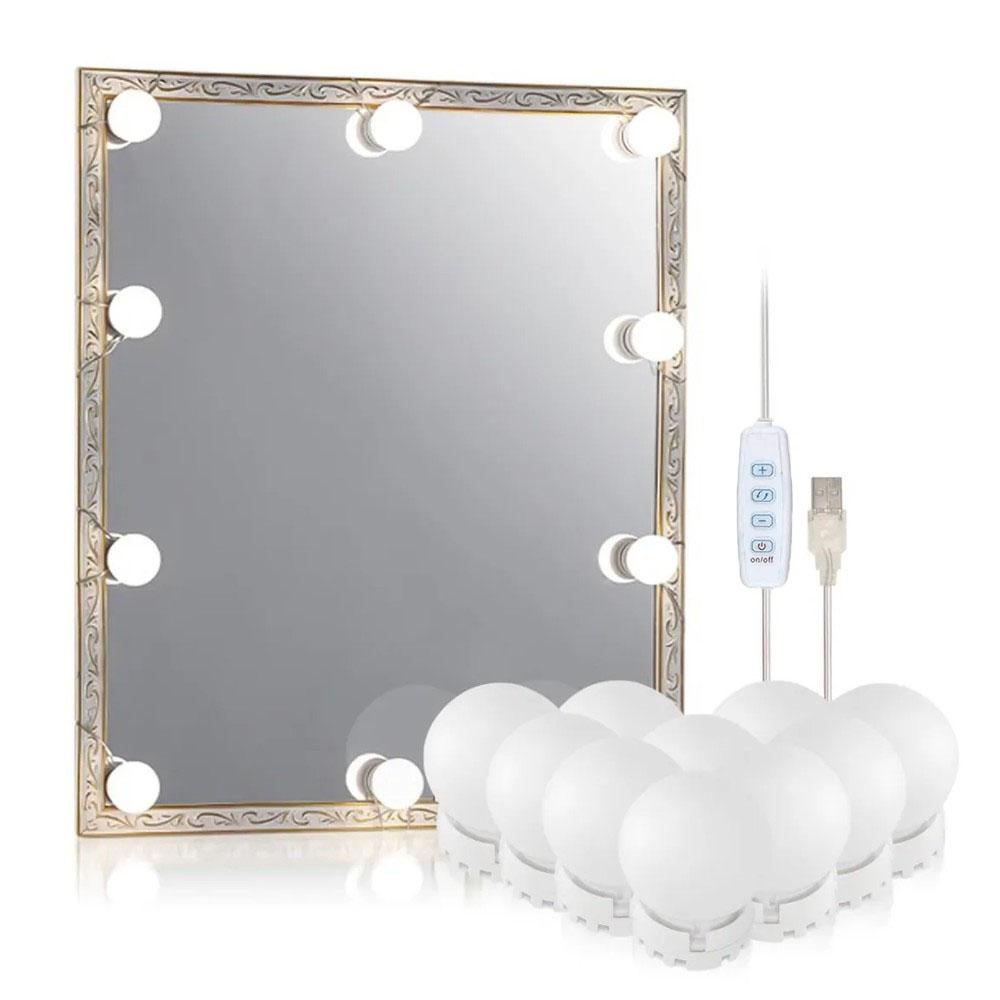 Luz De Espelho Penteadeira Camarim Maquiagem 10 Lâmpadas Led