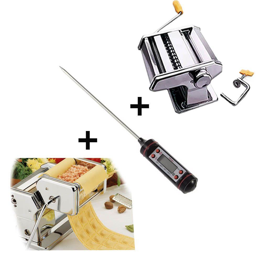 maquina de ravióli com termômetro culinário e massa caseira