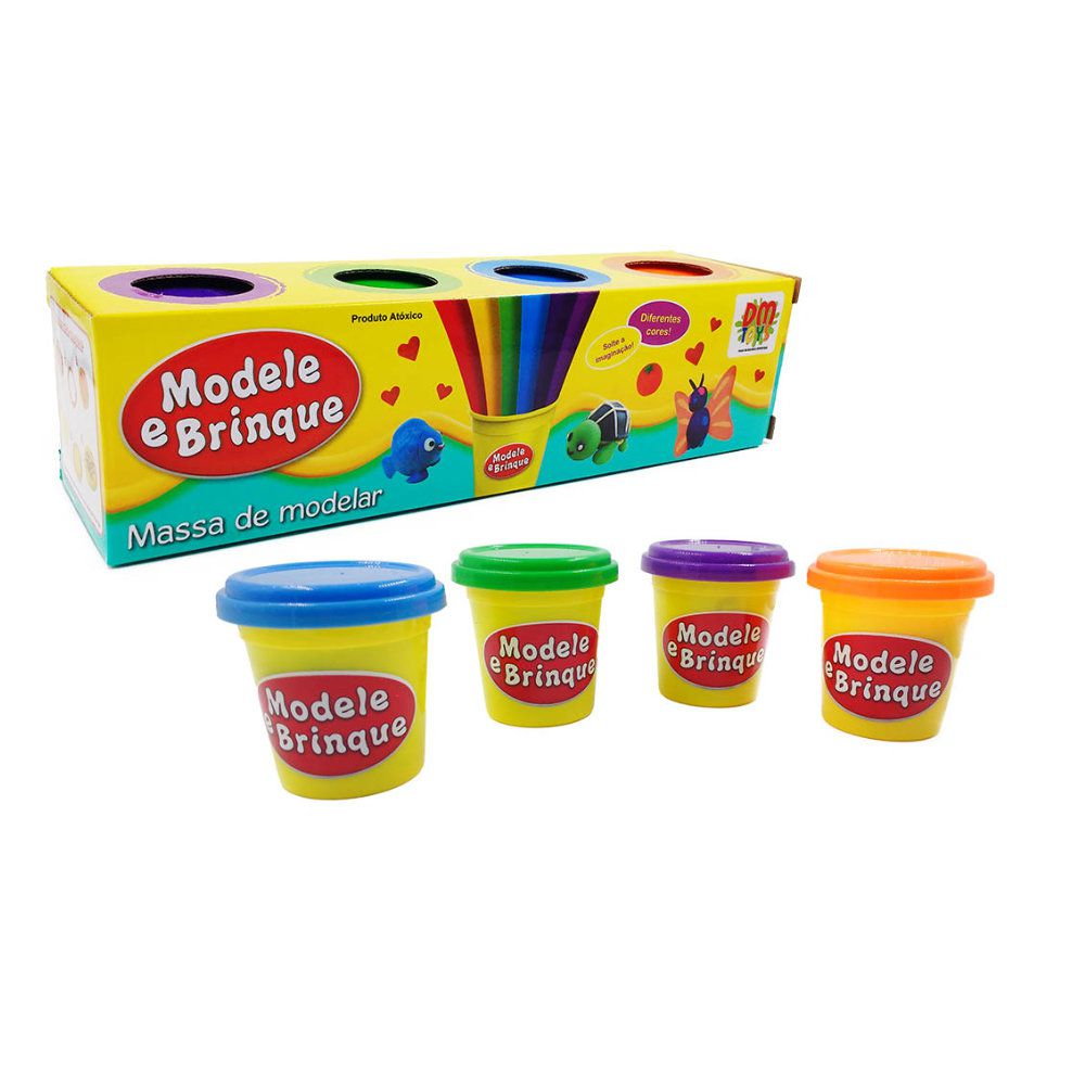 massa de modelar chef de cozinha + 4 potes massinha colorida