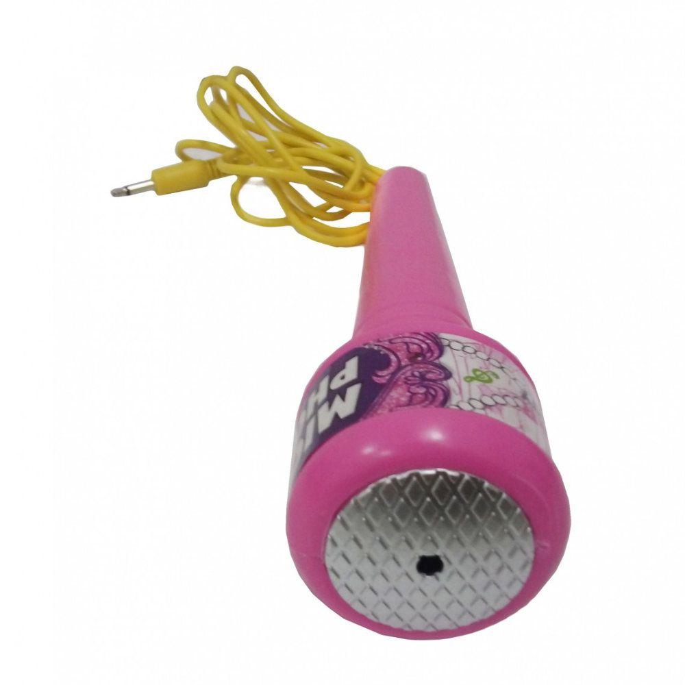 microfone infantil com pedestal e karaoke mp3 rosa