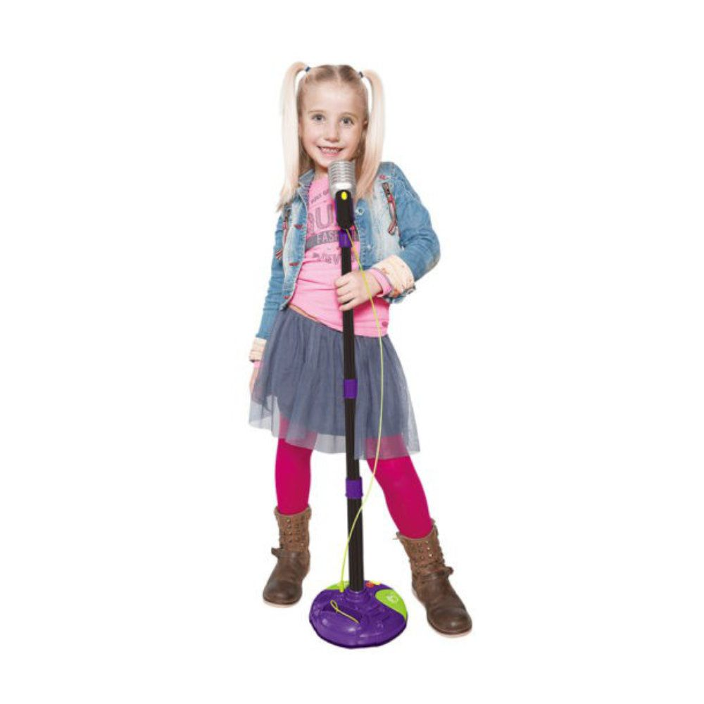 microfone  infantil karaokê amplificador pedestal ajustável