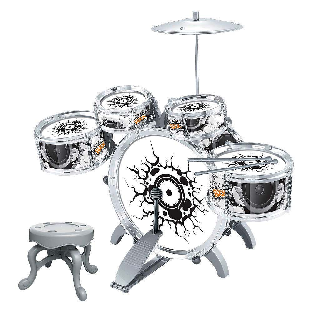 mini bateria infantil musical rock party com pedal