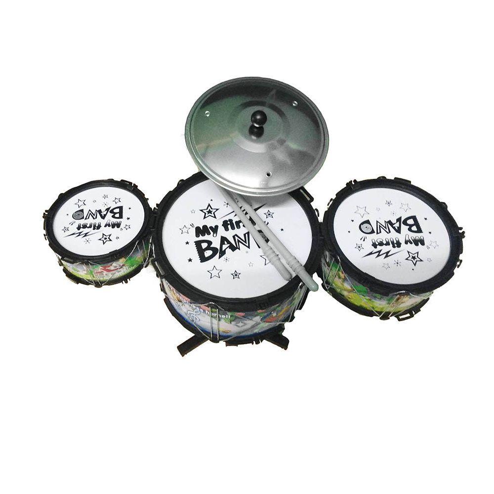 mini bateria infantil musical tambores prato baquetas 42cm