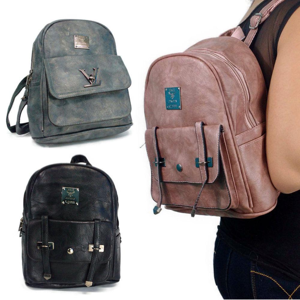 mochila bolsa feminina de couro sintético para passeio