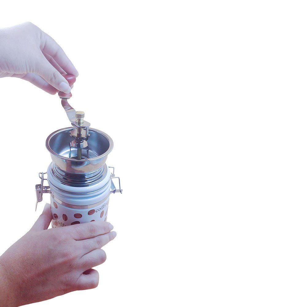 moedor de grãos de cafe manual em cerâmica 20cm - branco