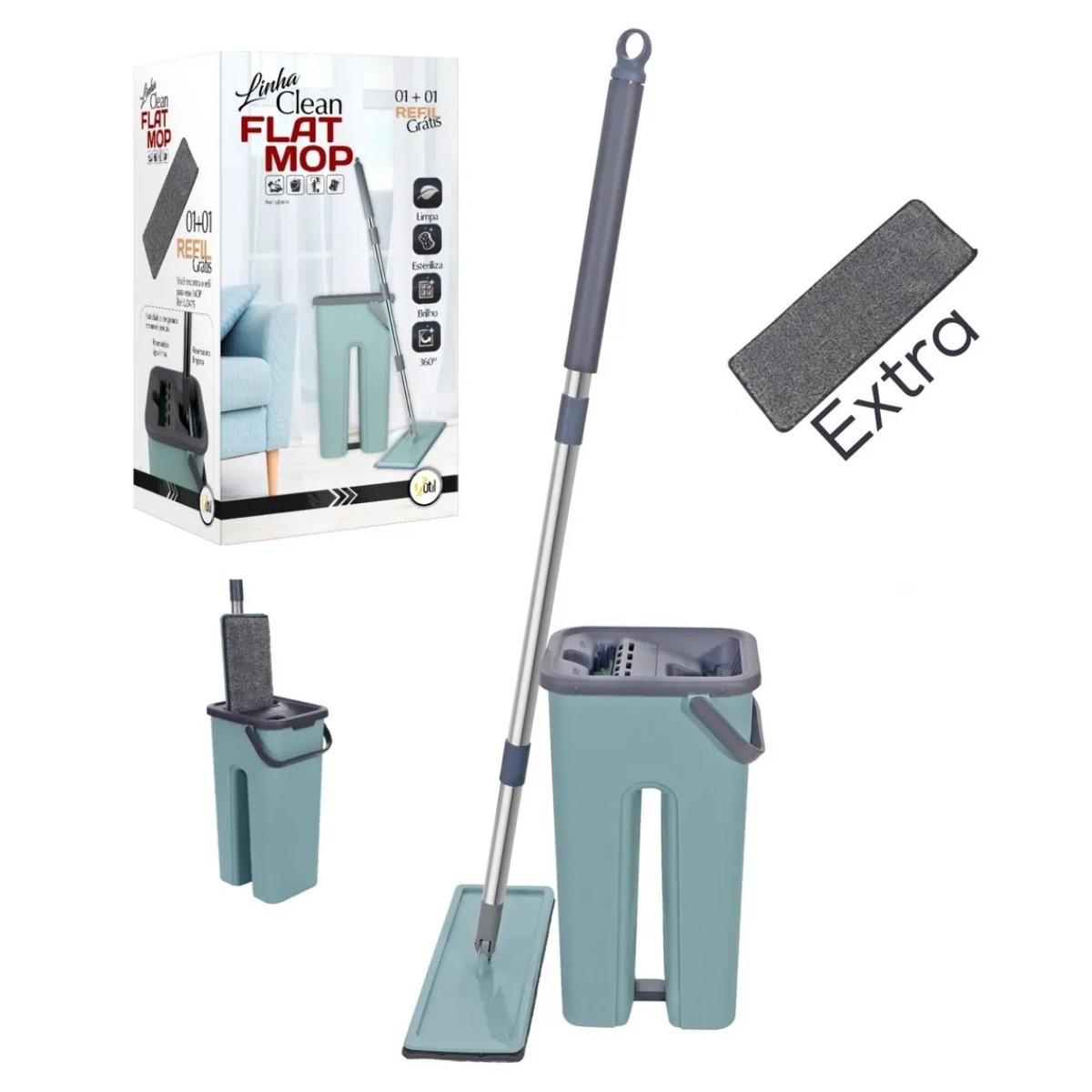 Mop Lava E Seca Flat Multiuso Vertical + Refil Extra 123util