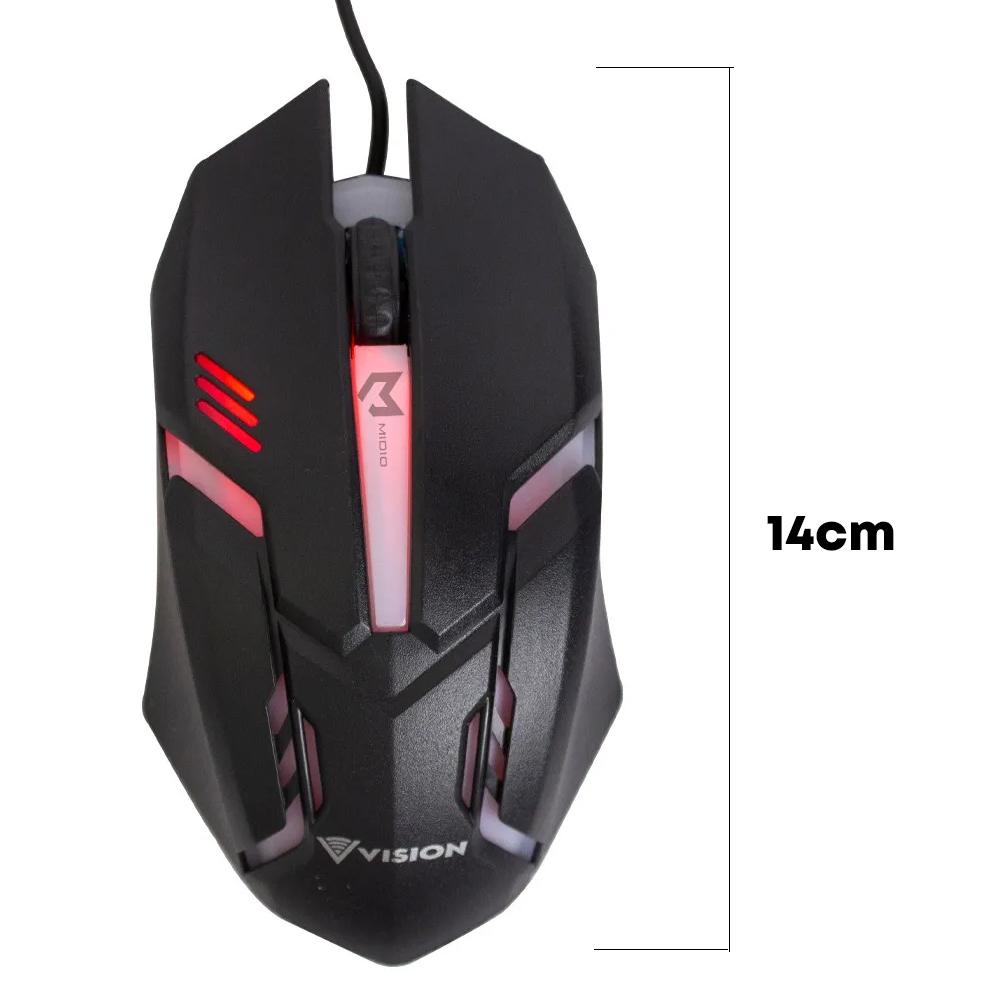 Mouse Gamer Ergonômico Led 1000 Dpi Preto Usb Rgb Vision