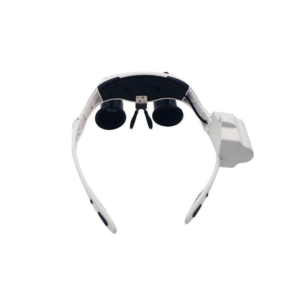 óculos lupa de aumento 25x com 4 lentes e luzes led