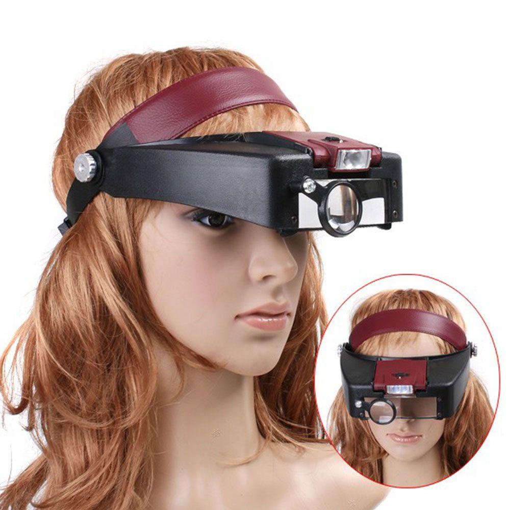 óculos lupa de cabeça profissional 3 lentes com luz led
