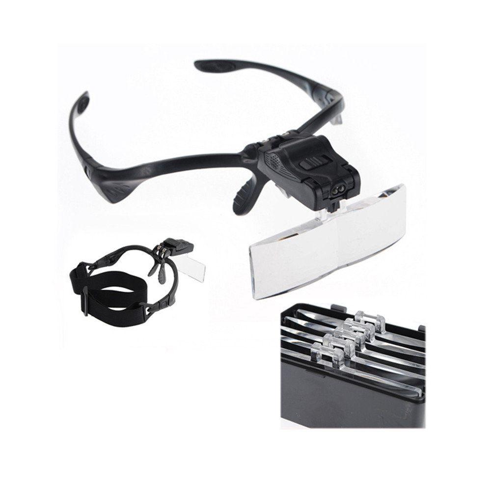 óculos lupa de cabeça profissional 5 lentes lupa com luz