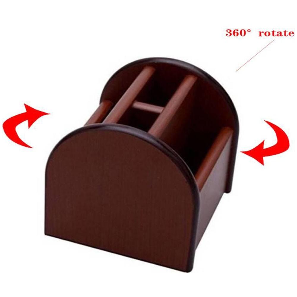 Organizador Em Madeira Porta Lápis Caneta Clips Papel Giratório 360º