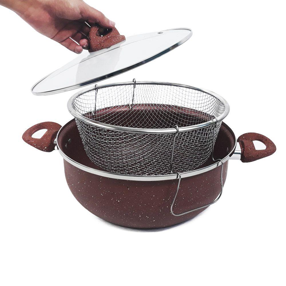 panela antiaderente caçarola fritadeira com tampa 28 cm