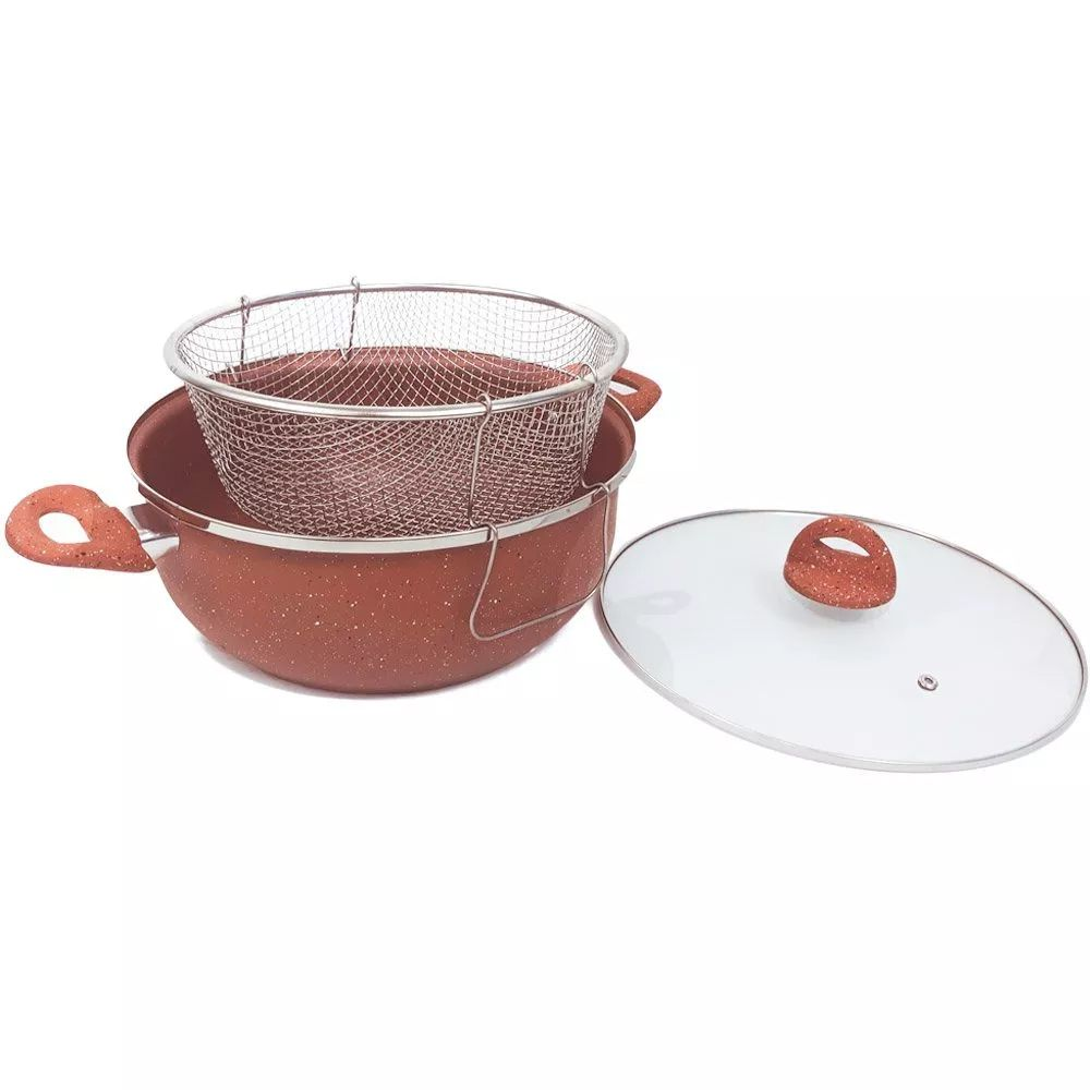 Panela frigideira 28 cm antiaderente com cesto e tampa