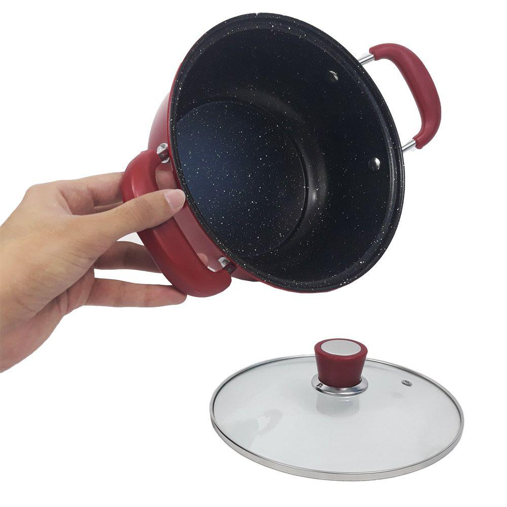 panela frigideira antiaderente com cesto e tampa 22 cm