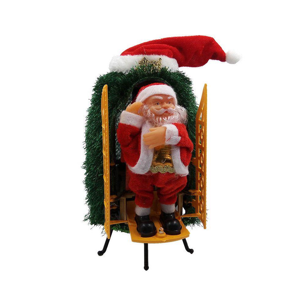 papai noel boneco decorativo de natal com luz sai da arvore