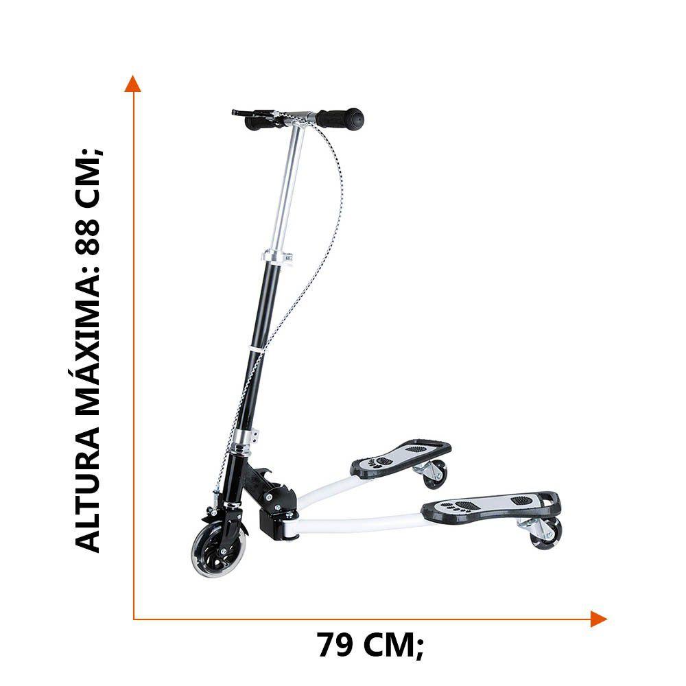 patinete com 3 rodas dobrável de metal suporta até 100kg