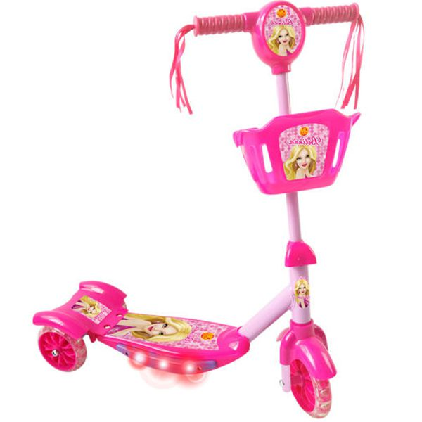 Patinete Infantil Belinda Rosa com Cesta Luzes e Som DM Toys