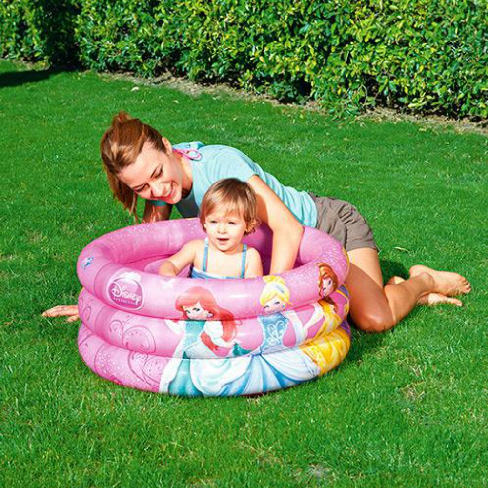 piscina inflável infantil 38 litro disney princesas 70x30cm