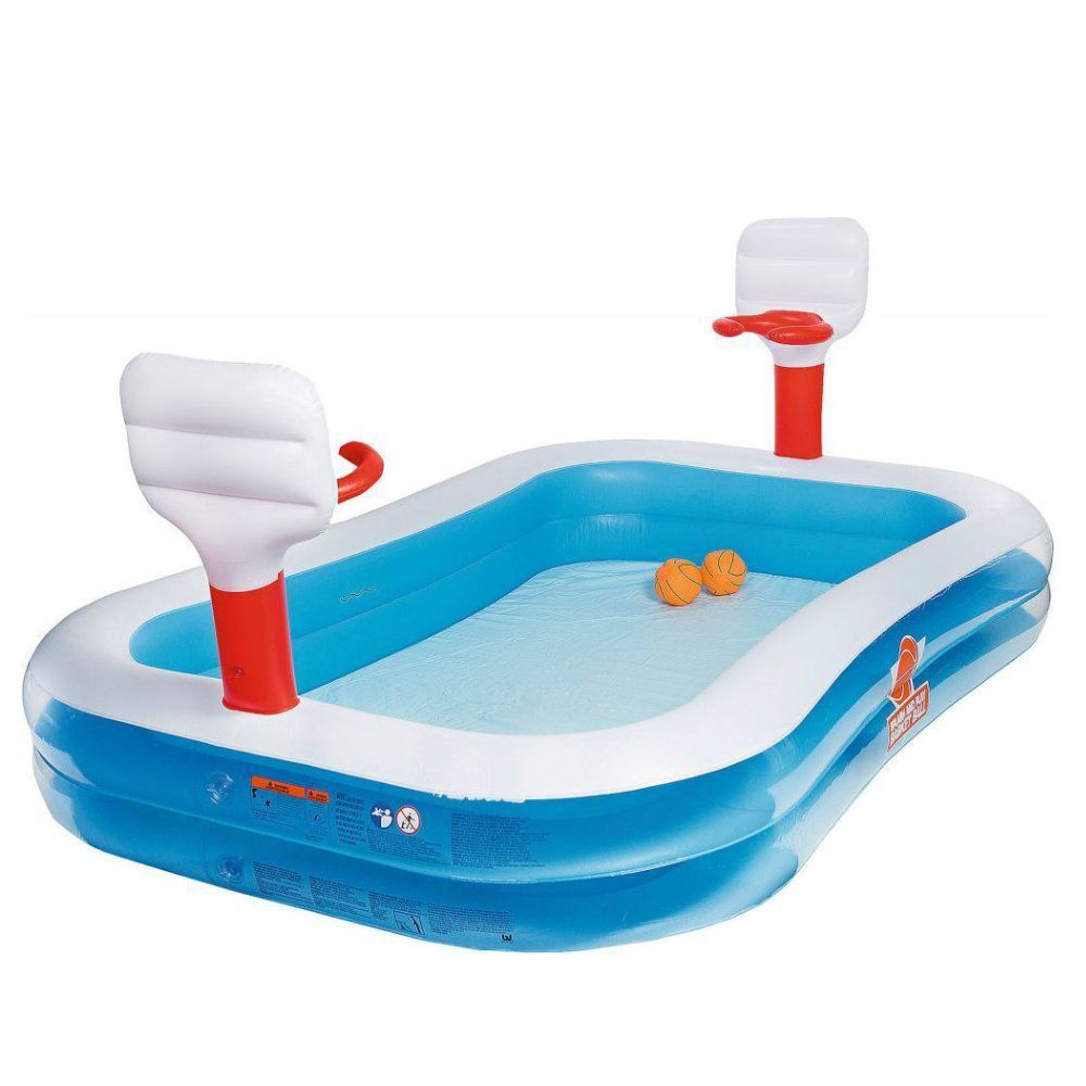 piscina inflável infantil com 2 cestas e 2 bolas 636l