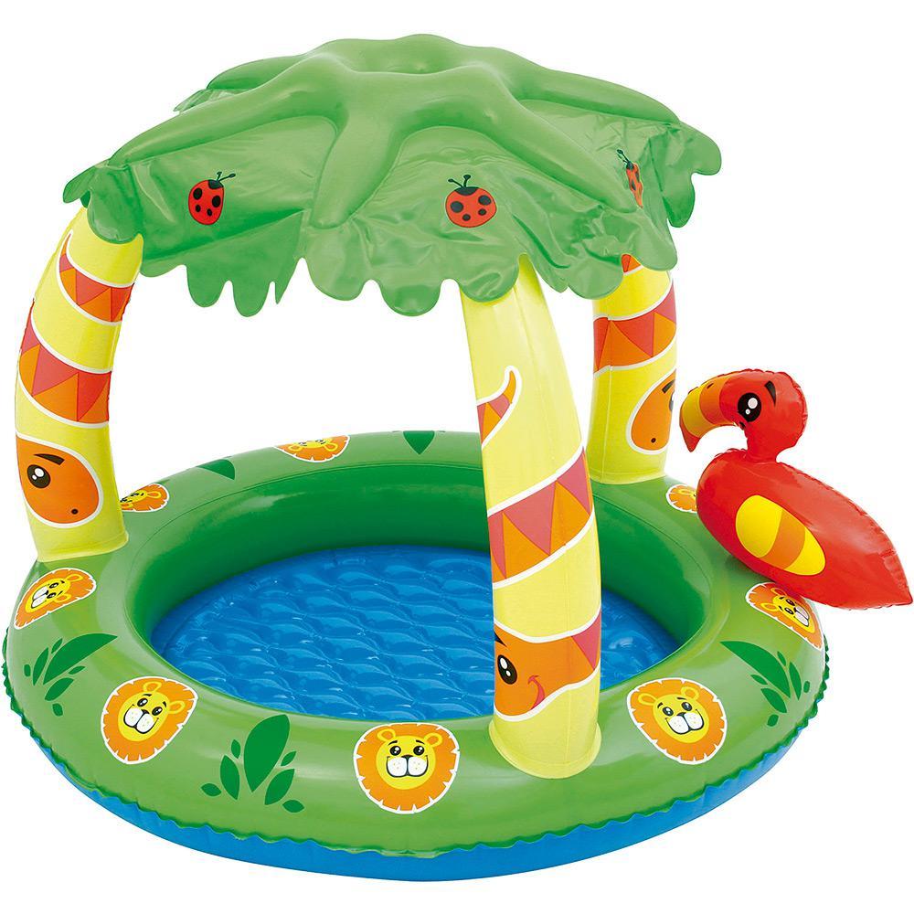 piscina inflável infantil com cobertura amigo da selva 26l