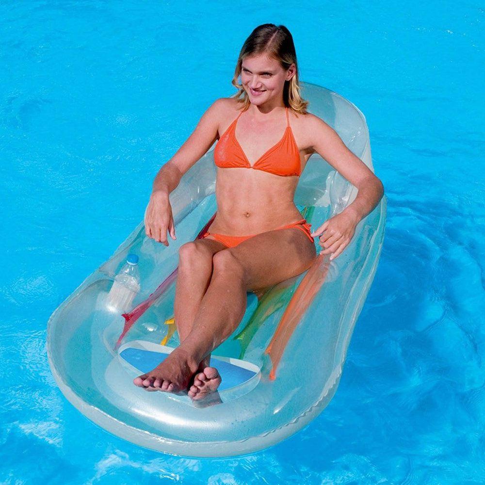 poltrona inflável bronzeador colchão porta copo para piscina