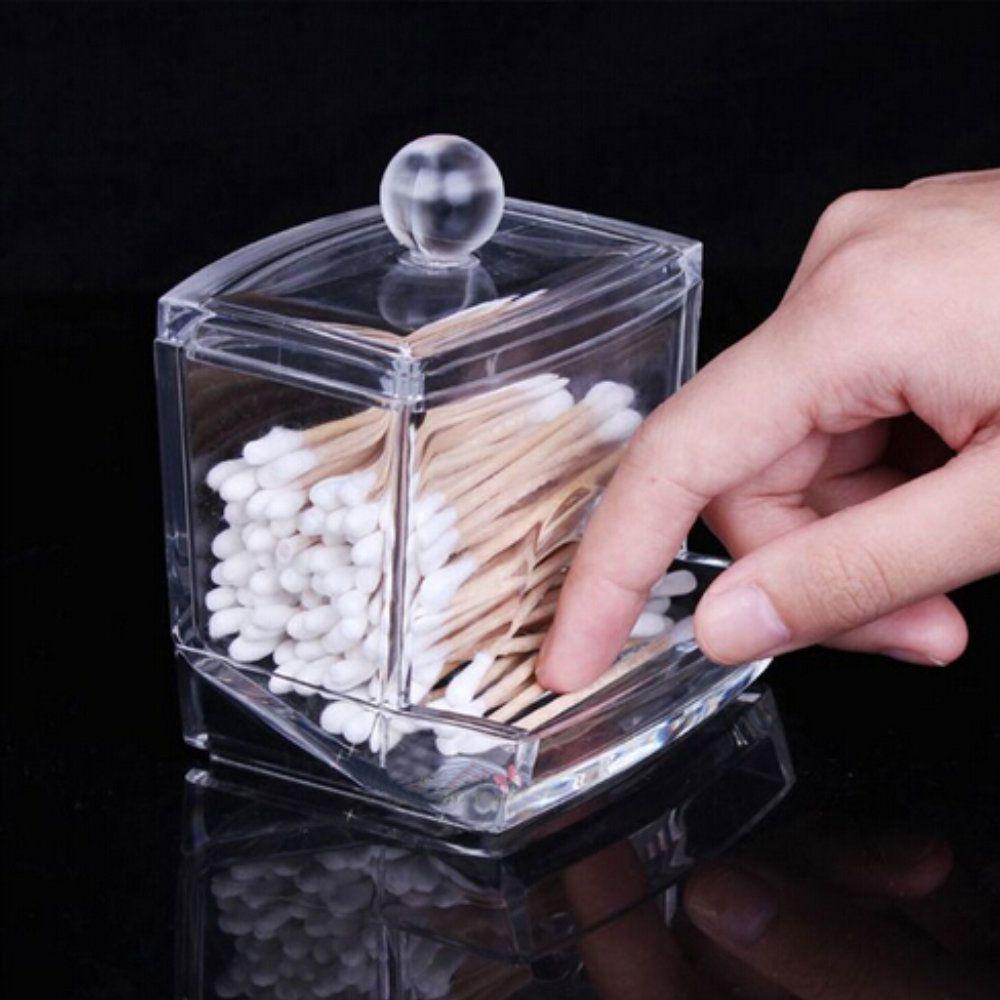 porta cotonetes algodão acessório em acrílico transparente