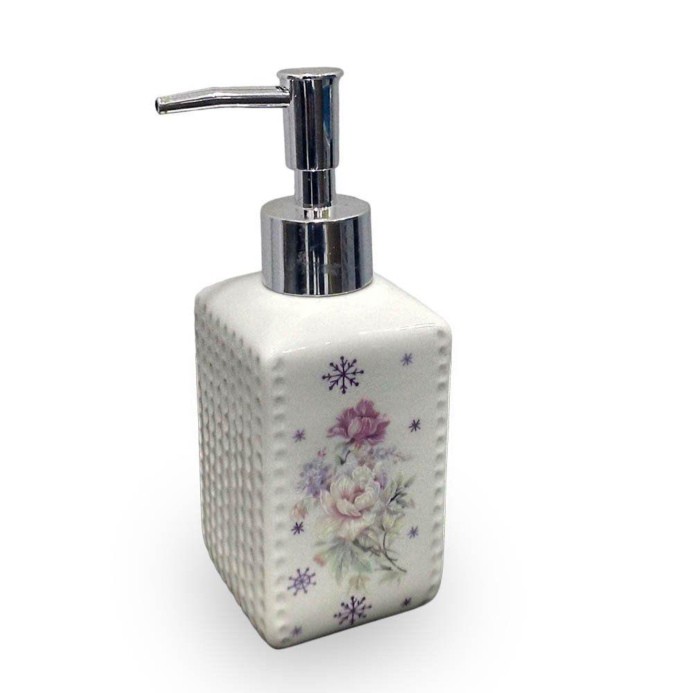 porta sabonete liquido dispenser em cerâmica 330ml - branco