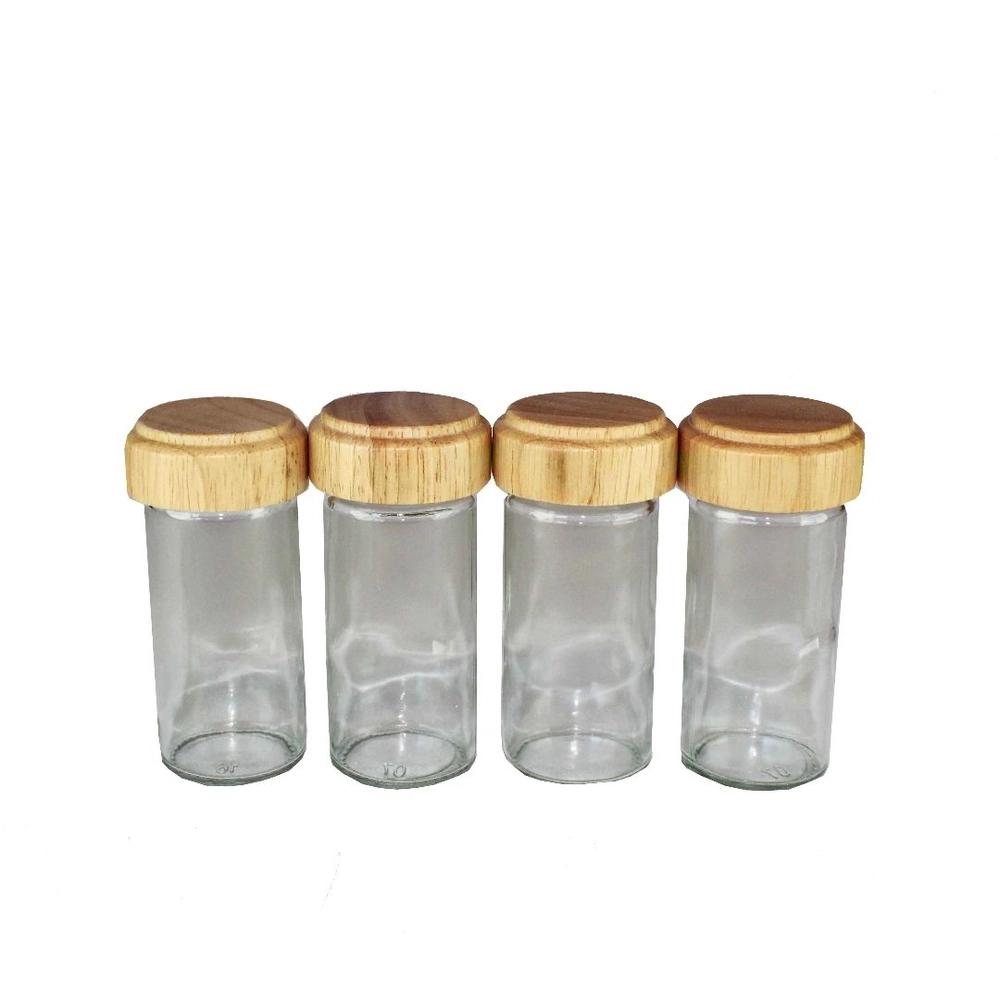 Porta Tempero Condimento Giratório Madeira 12 Potes de Vidro