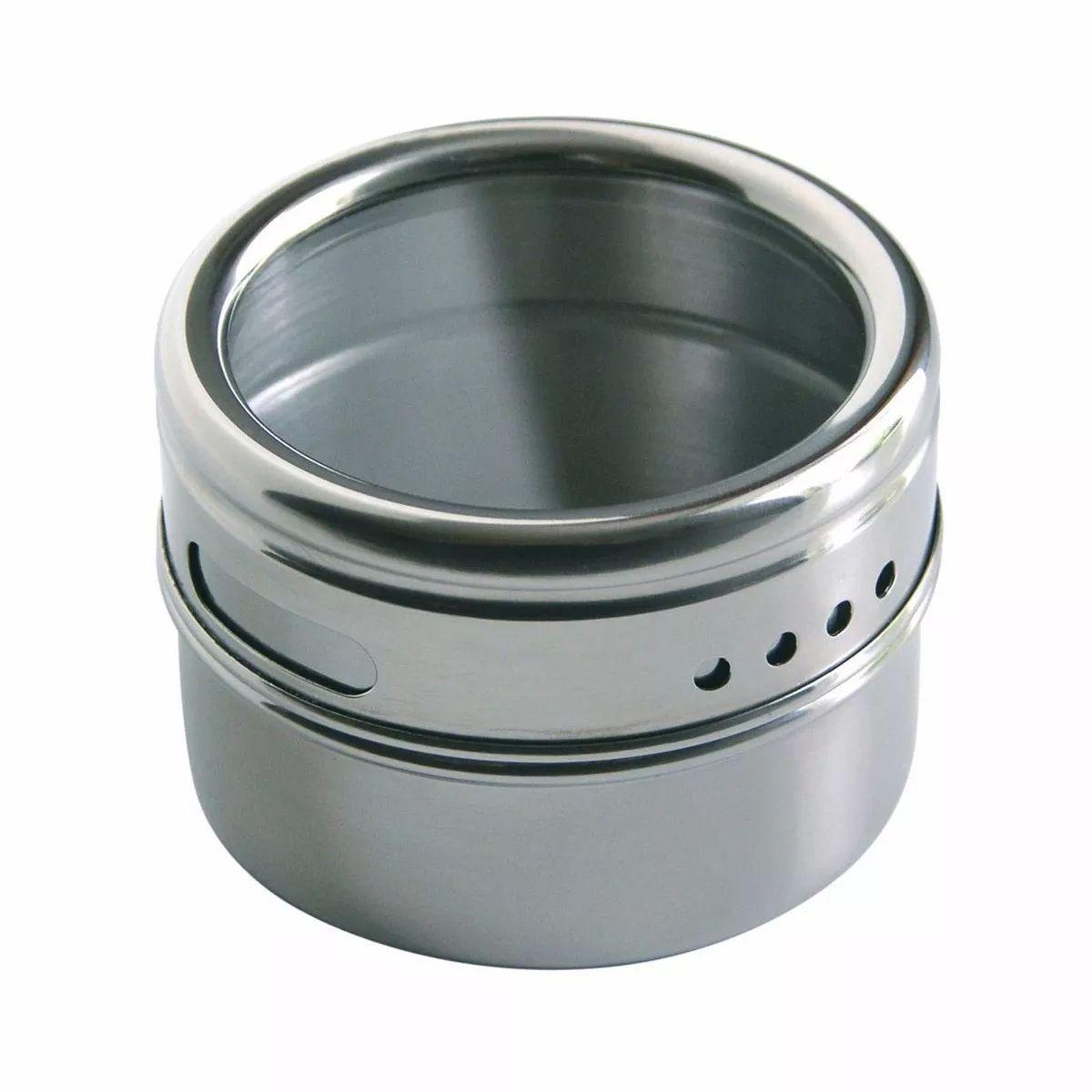 Porta Temperos E Condimentos Magnético Inox 3 Potes Cozinha