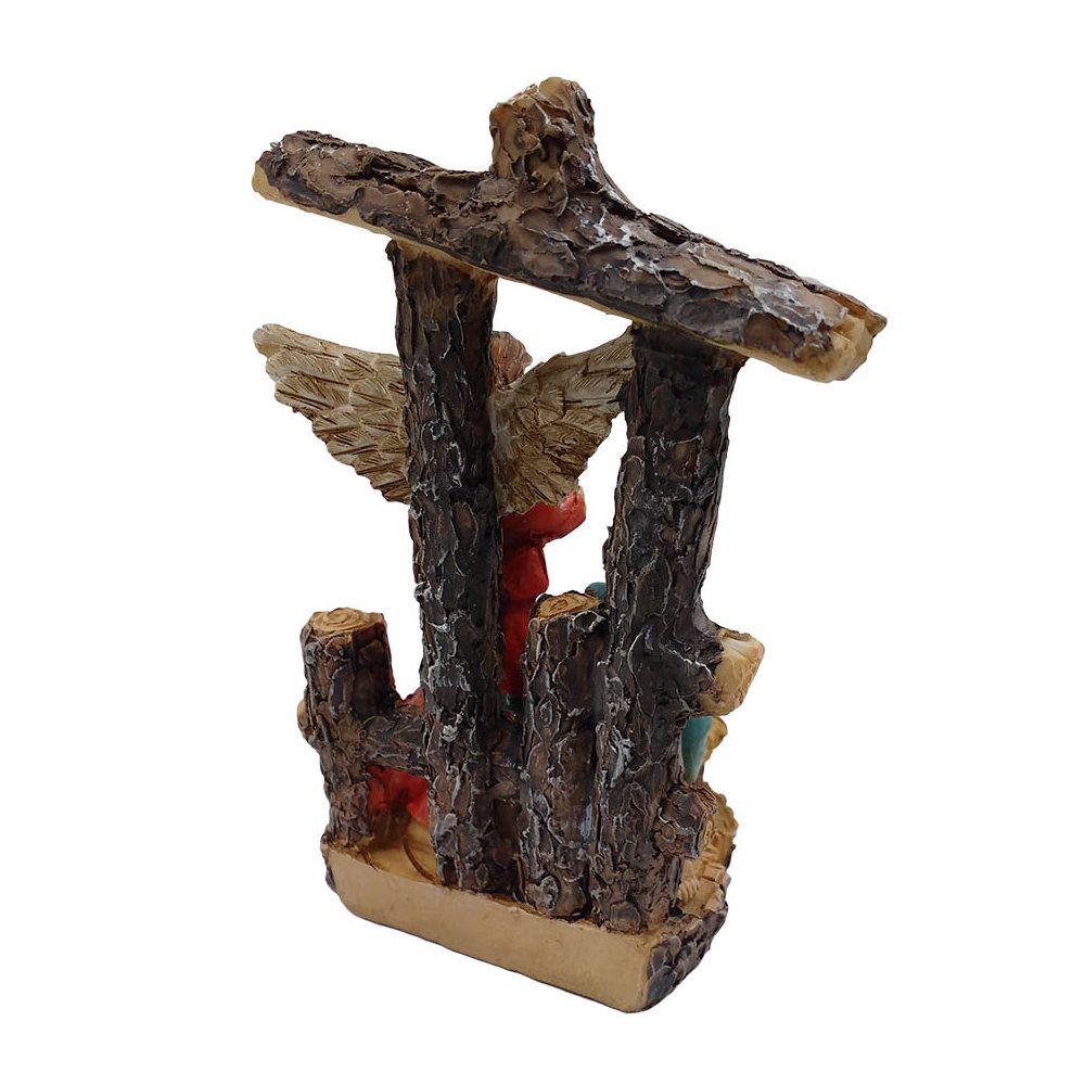 presépio 3 peças em resina 12 cm - decoração de natal