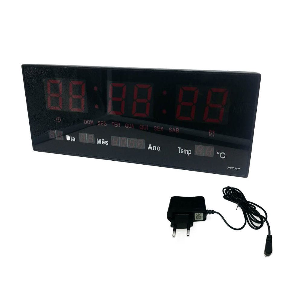 relógio de parede display led termômetro calendário alarme