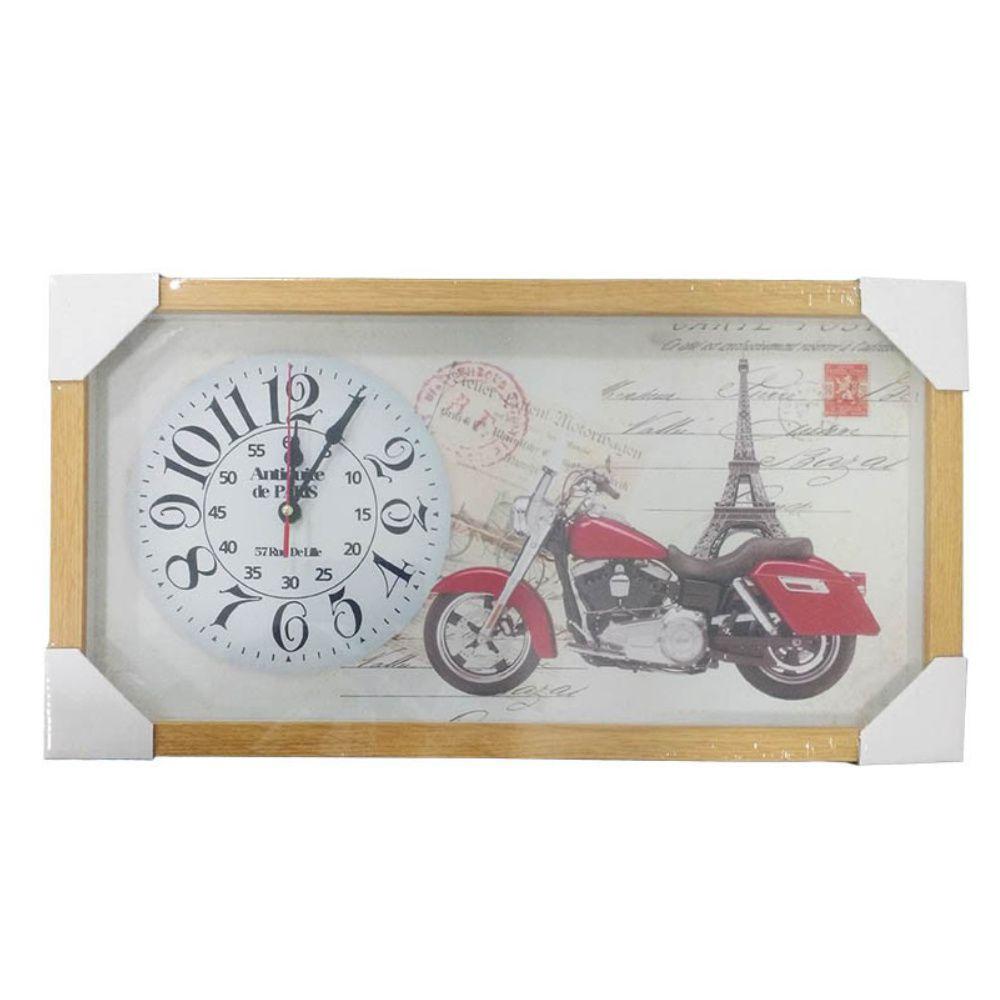 relógio de parede quadro de moldura em madeira 26x50cm - r02