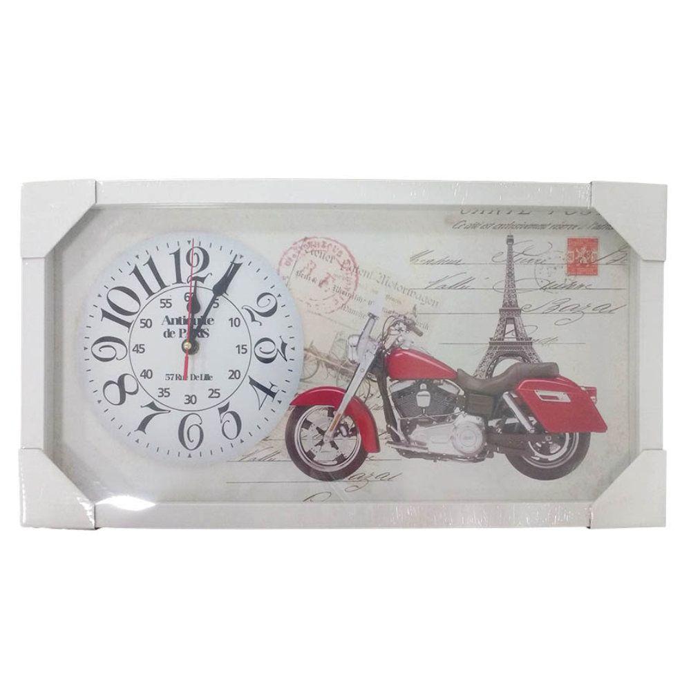 relógio de parede retro com moldura em madeira 26x50cm - r01