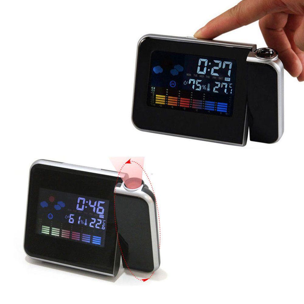 relógio despertador projeta hora laser termômetro calendário