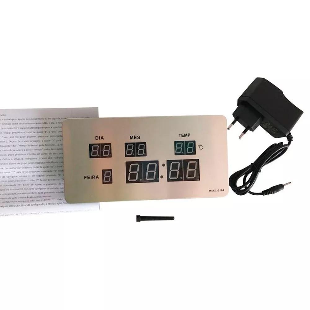Relógio Digital De Parede Com Termômetro Calendário E Alarme