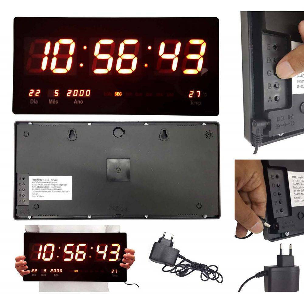 relógio display led de parede com termômetro e calendário